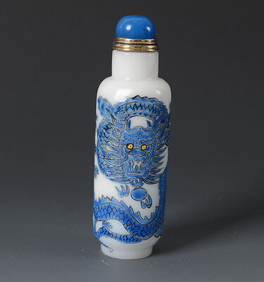 Chinese Dragon Pattern Painted Enamel Glass Snuff Bottle(Free Shipping)-JR10447