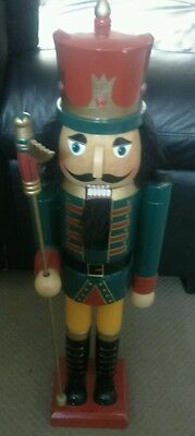 2ft GREAT LARGE SOLDIER/KING NUTCRACKER, HAND PAINTED, BY KIRKLAND, WITH PIKE