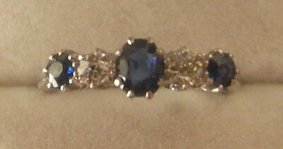 Lovely antique Edwardian sapphire and diamond ring 18ct WG Plat