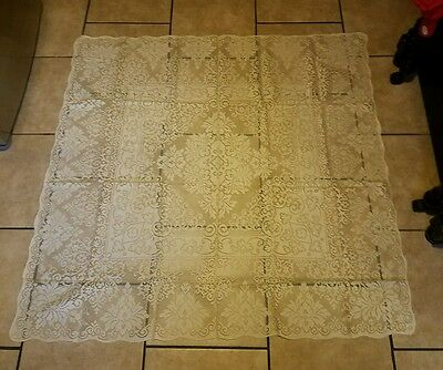 """Pretty Antique Vintage Crocheted Tablecloth White 60x60"""""""