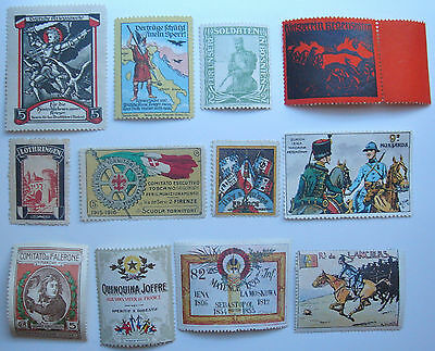 WW1 DELANDRE French Poster Stamps Plus Germany And Other Assorted Labels (12)