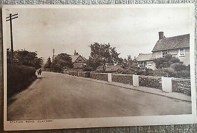 Claydon Postcard Showing Station Road And Post Office