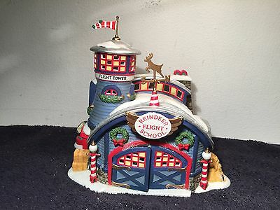 Department 56 North Pole Series Reindeer Flight School With Box & Electric Cord