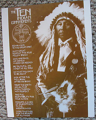 Vintage The NATIVE AMERICAN Ten Commandents SEPIA PRINT Heavy Poster