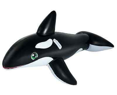 New Black Inflatable Whale Shape Ride On Kids Pool Float Toy Swimming Accessory