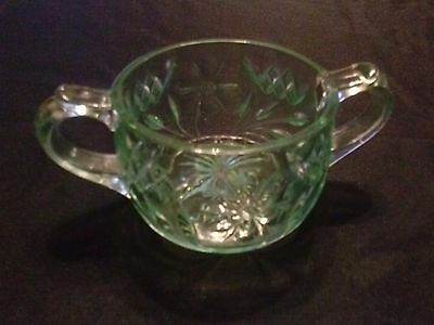 Carnival Glass Green Sugar Bowl with Floral Design