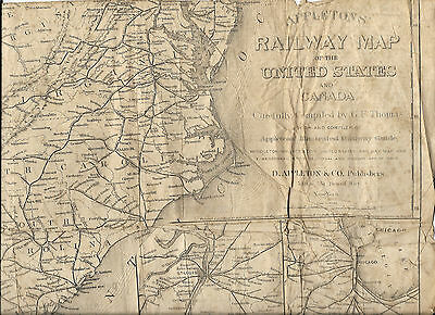 1871 Appleton's RAILWAY Map Of The UNITED STATES Railroad INDIAN TERRITORY TEXAS
