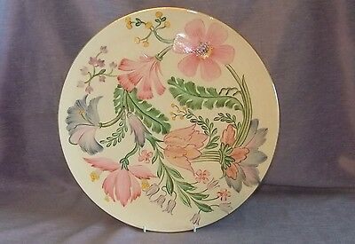 Stunning Gray's Pottery Large Handpainted Floral Wall Plaque