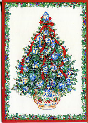Unused Vintage Caspari Christmas Card: Christmas Tree with Tea Cups