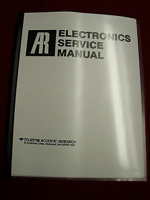Acoustic Research Electronics Service Manual - Ar Amp. Au, Receiver W, R & Tuner