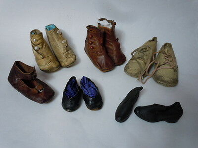 Great Lot 5 pairs Antique doll shoes