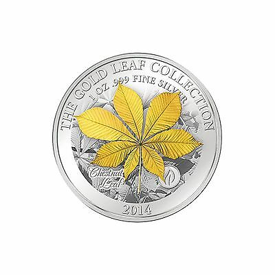 Samoa 2014 5$ 3D Gold Leaf Collection Chestnut Leaves 1oz Silver Proof Coin RARE