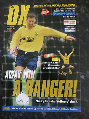 OXFORD UNITED v TRANMERE ROVERS 14-10-1997 COCA COLA CUP 3RD FOOTBALL PROGRAMME