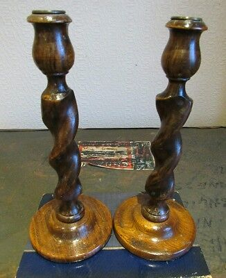 A Pair of Victorian/Edwardian Barley Twist Oak Candlesticks