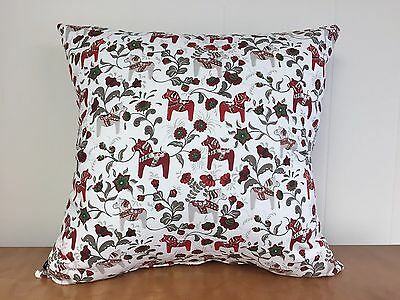 Swedish Dala Horse Pillow Cover White with Green