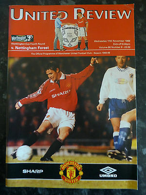 Manchester United V Nottingham Forest 11-11-1998 League Cup Football Programme