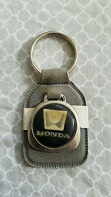 Vintage HONDA Keychain Leather suede grey