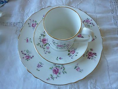 Vintage Crown Staffordshire Fine Bone China Pink Roses Plate Cup Saucer Set