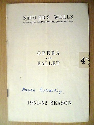 .1951-52 Sadler's Wells Opera and Ballet Programme: MADAM BUTTERFLY(Puccini)