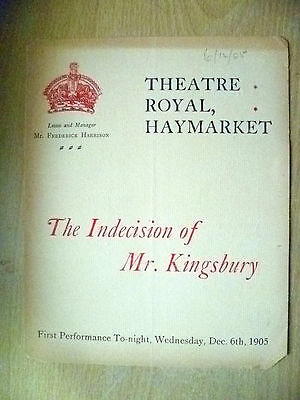 1905 Theatre Royal Programme- THE INDECISION OF MR. KINGSBURY, 6 Dec