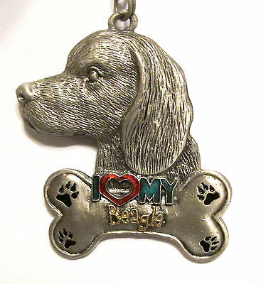 Vintage Two Sided I Love (Heart) My Beagle  Metal Key Chain Ring