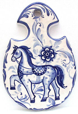 Hand Painted Ceramic Delft Horse Wall Hanging Cheese Board Signed