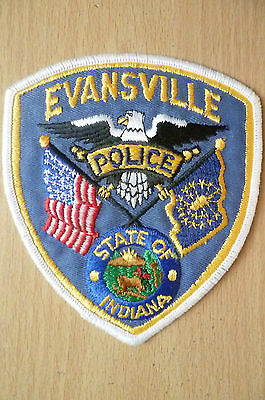 Patches: EVANSVILLE STATE OF INDIANA POLICE PATCH (NEW* apx.11x10 cm)