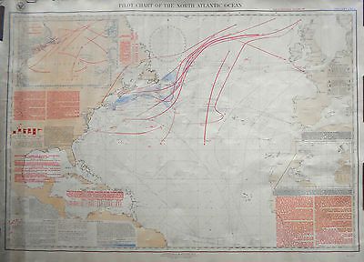 1900 Antique Nautical Sea Sailing Chart Map Atlantic USA Canada Europe Africa #2