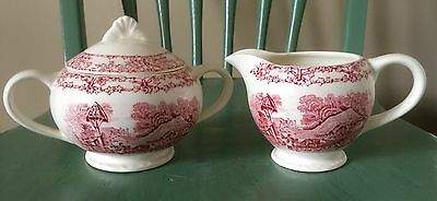 PASTORAL DAVENPORT 1840 A. J. Wilkinson England Sugar Bowl with Lid & Creamer
