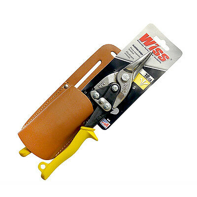 Wiss Snips M3R Cutting Aviation Straight Yellow handle with leather holster