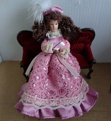 Curly Hair Lady Pink Lace Dress Feather Hat 12th Scale Dolls House Figures
