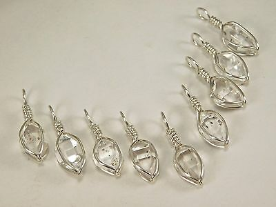 1 Genuine WATER-CLEAR 6x10 mm NY Herkimer Diamond Crystal Healing Pendant H50