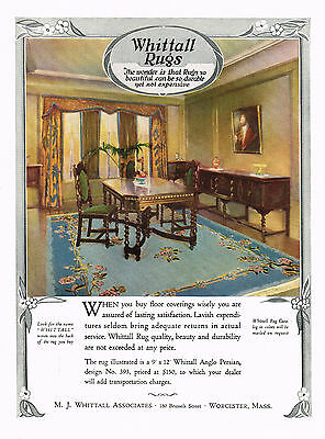 1920's BIG VINTAGE Whittall Rugs Worcester Mass. Period Interior Art Print AD