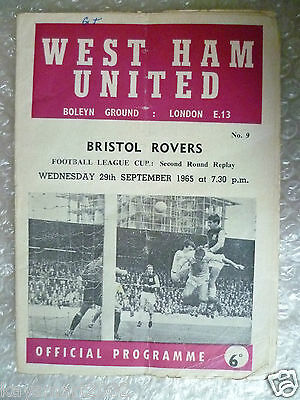 1965 WEST HAM UNITED v BRISTOL ROVERS, 29 Sept (League Cup 2nd RD REPLAY)