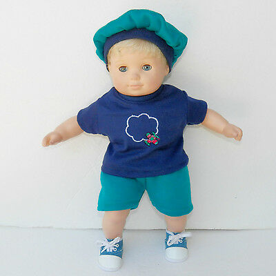 "bitty baby clothes doll boy or 15"" twin airplane shorts t shirt hat handmade 3pc"