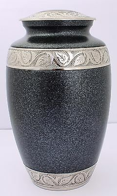 Adult Cremation Urn for Ashes Funeral Memorial Remembrance Large Grey Brass