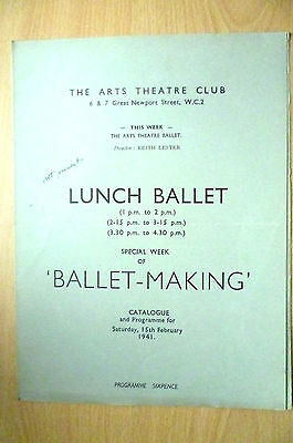 THE ARTS THEATRE CLUB LUNCH BALLET PROGRAMME, 15th FEBRUARY 1941