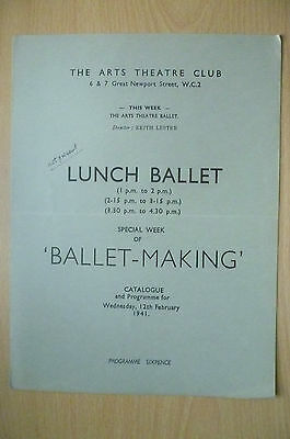 THE ARTS THEATRE CLUB LUNCH BALLET PROGRAMME, 12th FEBRUARY 1941