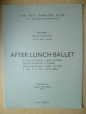 The Arts Theatre Club 1941 AFTER LUNCH BALLET PROGRAMME, 16th March