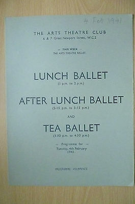 THE ARTS THEATRE CLUB LUNCH BALLET & TEA BALLET PROGRAMME, 4th FEBRUARY 1941
