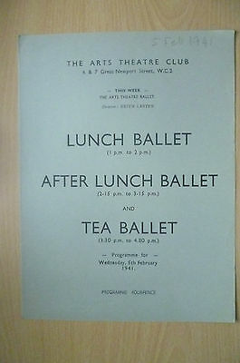 THE ARTS THEATRE CLUB LUNCH BALLET & TEA BALLET PROGRAMME, 5th FEBRUARY 1941