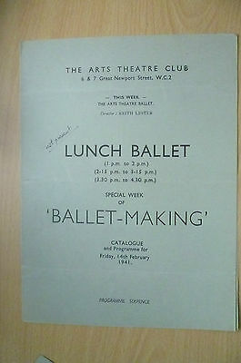 THE ARTS THEATRE CLUB LUNCH BALLET PROGRAMME, 14th FEBRUARY 1941