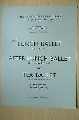 THE ARTS THEATRE CLUB LUNCH BALLET PROGRAMME, 8th FEBRUARY 1941