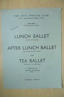 THE ARTS THEATRE CLUB LUNCH BALLET & TEA BALLET PROGRAMME, 16th January 1941