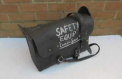 vintage BR British Rail ? black leather hide fireman footplate tool bag satchel.
