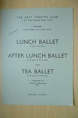 THE ARTS THEATRE CLUB LUNCH BALLET & TEA BALLET PROGRAMME, 14th January 1941