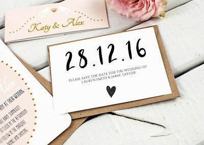 Personalised Wedding Save the Date Cards Party Invitations Shabby / PDSTD001