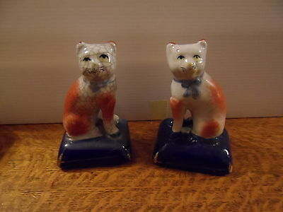 2 Staffordshire Style Cat Ornaments Figurines On Blue Cushions Ceramic Pottery
