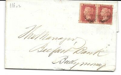 GB N.IRELAND 1868 Cover, E.L. QV Penny red stamps(2),clear Plate 116 EJ & FK, pm