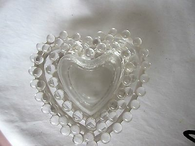 Vintage IMPERIAL GLASS CANDLEWICK 3 Heart Shaped Nesting Candy Nut Dishes